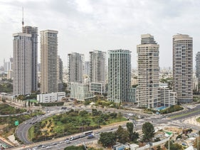 High-rise buildings in the Park Tzameret area of Tel Aviv.