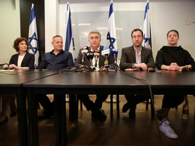 From left to right: Meretz lawmakers Tamar Zandberg and Nitzan Horowitz, Labor head Amir Peretz and lawmakers Itzik Shmuli and Merav Michaeli.