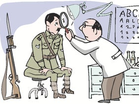 An illustration depicting a doctor looking into Hitler's eye through a magnifying glass.