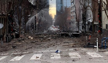 General view of the site of an explosion in the area of Second and Commerce in Nashville, Tennessee, U.S. December 25, 2020.
