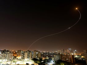 The Iron Dome system intercepts a missile over the southern Israeli city of Ashkelon, 2019.