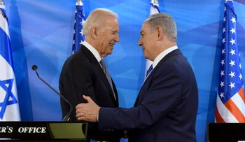 President-elect Joe Biden, left, shaking hands with Israeli Prime Minister Benjamin Netanyahu as they deliver joint statements during a meeting in Jerusalem March 9, 2016.