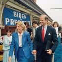 Sen. Joseph Biden, D-Del., right, walks with his wife Jill after announcing his candidacy for president June 9, 1987, in Wilmington, Del.