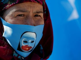A protester from the Uighur community living in Turkey at a protest in Istanbul against China's repression of its Uighur Muslim minority. Oct. 1, 2020