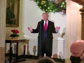 U.S. President Donald Trump speaks at the White House Hanukkah Party in Washington, DC, U.S. December 9, 2020.