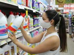 Sano cleaning supplies on the shelf of an Israeli supermarket.