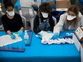 Vote counting in the central Israeli town of Shoham, March 2019.
