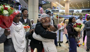 Ethiopian immigrants to Israel are met by family members at Ben-Gurion Airport, February 25, 2020.