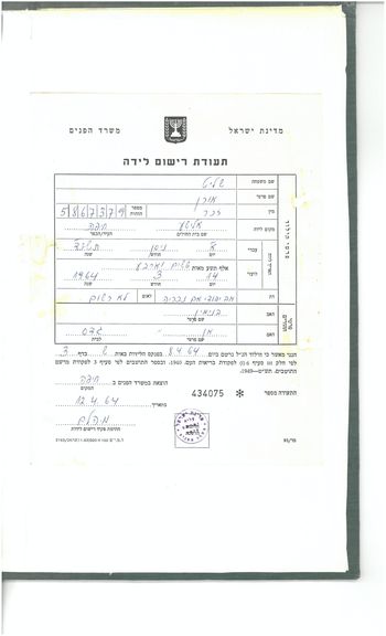 Oren Shalit's birth certificate. The author has access to Benyamin Shalit's personal archive, before it's deposited in Tel Aviv University's Israeli Legal History Archive. Permission of Anne Shalit