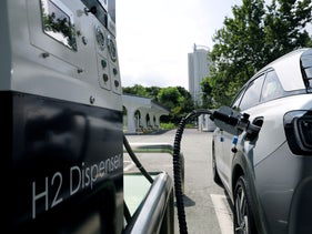 A Hyundai Motor's Nexo hydrogen car is fueled at a hydrogen station in Seoul, South Korea, August 13, 2019.