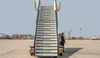 Passenger boarding stairs seen at Ben Gurion Airport ahead of a ceremony to welcome El Al's new Boeing 787 Dreamliner airliner, in 2019.