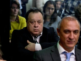 In this 2015 photo, Carlos Telleldin attends a trial where he and others are accused of derailing an investigation into the 1994 bombing of the Argentina Jewish Center in Buenos Aires, Argentina.
