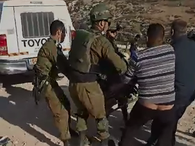 An image of the incident in which Abu Aram was shot in the village of al-Rakiz in the southern Hebron Hills, January 1, 2021.