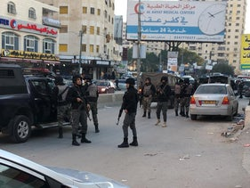 Palestinian forces in Kafr Aqab, Jerusalem, January 2, 2021.