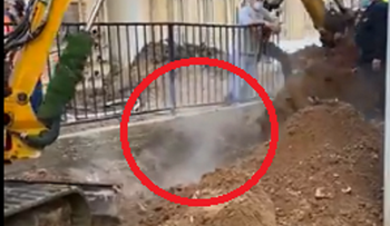 Steam coming out of the ground in Tel Aviv's Ibn Gabirol Street