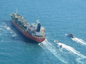 A South Korean-flagged tanker vessel which was seized by Iran is seen in the Persian Gulf, January 4, 2021