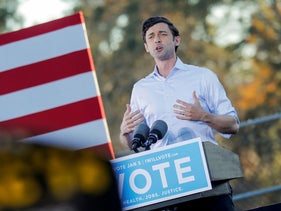 Democratic Senate candidate Jon Ossoff speaks at a campaign event ahead of Georgia's runoff election, Savannah, Georgia, January 3, 2021.