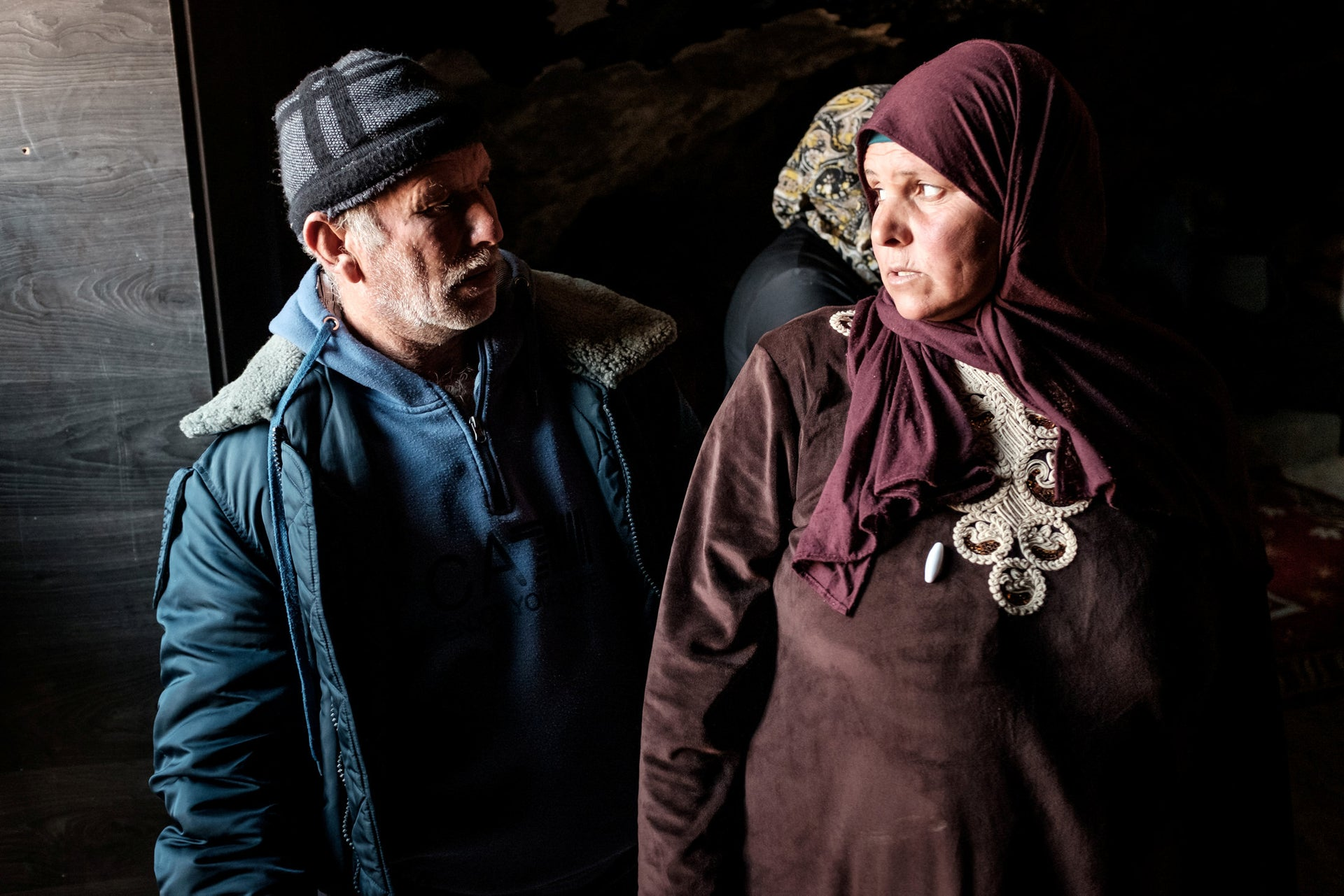 Harun Abu Aram's parents at Khirbet al-Rakiz, January 2021.