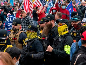 Members of the far-right Proud Boys join supporters of US President Donald Trump as they demonstrate in Washington, DC. December 12, 2020