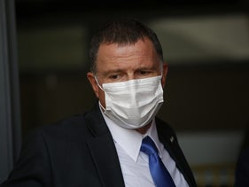 Health Minister Yuli Edelstein during a visit at a Home Front Command base in Ramle, September 7, 2020.