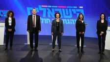 Ron Huldai (second left) alongside the four new members of his party, at a press conference in Tel Aviv, January 5, 2021.