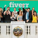 Fiverr management on the first day of Fiverr trading in the New York Stock Exchange, June 13, 2019.