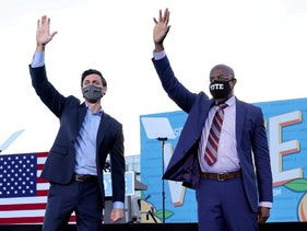 Democratic U.S. Senate candidates Jon Ossoff and Raphael Warnock campaign together at a rally ahead of the Georgia run-off election in Atlanta, January 4, 2021.
