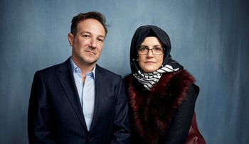 "Director Bryan Fogel, left, and  Hatice Cengiz pose for a portrait to promote ""The Dissident,"" a film about slain journalist Jamal Khashoggi, during Sundance, in Park City, Utah, January 24, 2020."
