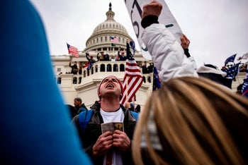 Pro-Trump supporters storm the U.S. Capitol following a rally with President Donald Trump on January 6, 2021.