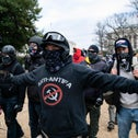 A protester who claims to be a member of the Proud Boys outside the U.S. Capitol last month.