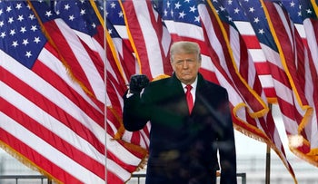 President Donald Trump arrives to speak at a rally Wednesday in Washington, January 6, 2021.