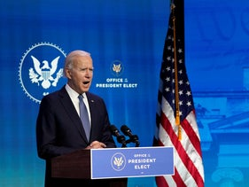 President-elect Joe Biden speaks during an event at The Queen theater in Wilmington, Delaware, January 7, 2021,
