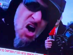 Screengrab from a video posted on Twitter of an Israeli reporter taking antisemitic abuse during a live broadcast from Capitol Hill, Washington D.C., January 6, 2020.