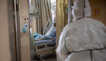 A patient at the coronavirus ward in Ichilov Hospital, Tel Aviv, January 7, 2021.