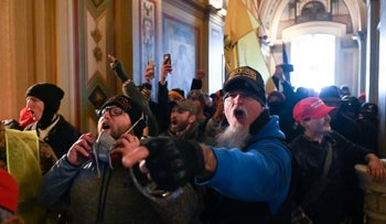 Supporters of  Donald Trump protest inside the US.. Capitol on January 6, 2021, in Washington, D.C.