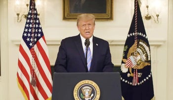 Donald Trump gives an address in this still image taken from video provided on social media on January 8, 2021.