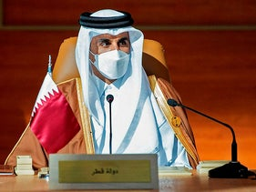 Qatar's ruler Sheikh Tamim bin Hamad Al-Thani attending the opening session of the 41st Gulf Cooperation Council, January 25, 2021.