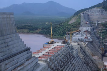 The dam that Ethiopia is building on the Nile, September 2019.