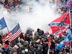 Supporters of U.S. President Donald Trump storming the Capitol in Washington, January 6, 2021.