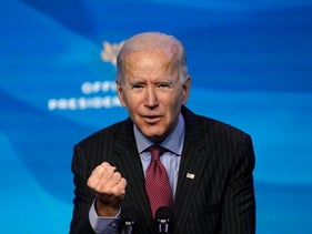 President-elect Joe Biden speaks during an event at The Queen theater in Wilmington, January 8, 2021.