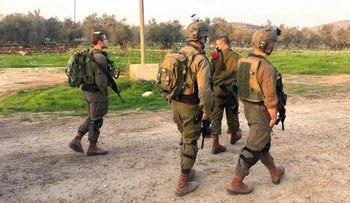Israeli soldiers near Ya'bad, west of Jenin, West Bank, January 9, 2021.