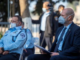 On the right, Public Security Minister Amir Ohana, on the left, Acting Superintendent Yaakov Shabtai, in Nazareth, January 4, 2021