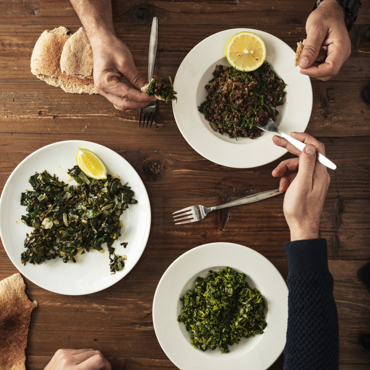 Dishes prepared from foraged greens, by Meidan Sadeh (Ahmed Hamdoun), of Kibbutz Lotem in the Galilee, in northern Israel, Jan. 2021