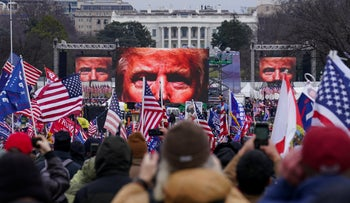 The rally called by Trump to oppose the certification of the 2020 elections, where the president incited his supporters to march on the Capitol. Jan. 6, 2021