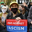 Rabbi Jill Jacobs at a Jews Against Fascism election march in New York, November 7, 2020.