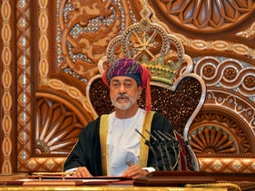 Sultan Haitham bin Tariq al-Said gives a speech after being sworn in before the royal family council in Muscat, Oman, January 11, 2020.