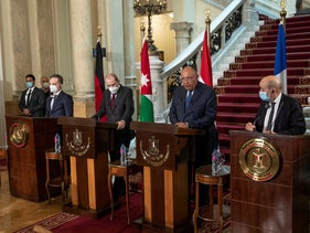 German Foreign Minister Heiko Maas, Jordanian Foreign Minister Ayman Safadi, Egyptian Foreign Minister Sameh Shoukry, and French Foreign Minister Jean-Yves Le Drian, hold a press conference at Tahrir Palace, in Cairo, Egypt, January 11, 2021.
