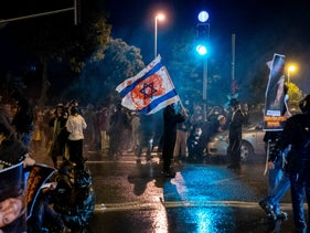 Settlers protest after the death of teenager Ahuvia Sandak in a police car chase, Jerusalem, January 2, 2021.