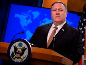 Secretary of State Mike Pompeo speaks during a press conference at the State Department in Washington, D.C. March 25, 2020