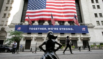 The Fearless Girl statue stands in front of the New York Stock Exchange in New York, July 9, 2020.